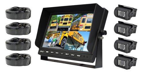 Pyle Wetterfeste Rückansicht Kamera-System ((10,1 Zoll) LCD-Farbmonitor, (4) IR-Nachtsicht-Kamera)