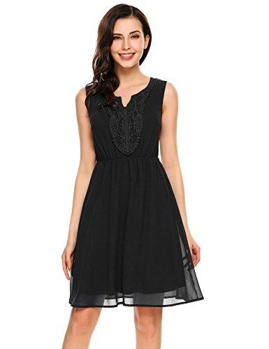 Beyove Damen Chiffon Kleid Sommerkleid mit Plissee-Falten Spitzenkleid Cocktailkleid Brautjungfernkleid Ärmellos, Schwarz, EU 42(Herstellergröße: XL)
