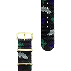 HyperGrand Mens 20 mm NS01ROCHGB Rorschach Nato Strap w/Gold Stainless Steel Hardware