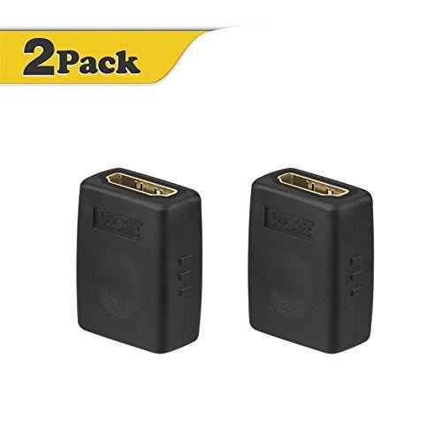 VCE (2 PACK) Adaptateur femelle à femelle de HDMI Adaptateur femelle HDMI haute vitesse plaqué or 3D et résolution 4K