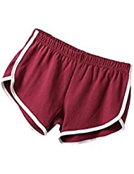 ilovediy Mujer Deportes de pantalones cortos/Retro–Pantalones cortos, color burdeos, tamaño M