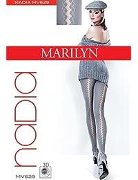 Marilyn reizvolle Strumpfhose, vorne blickdicht mit transparenten Muster auf der Rückseite, 40 Denier