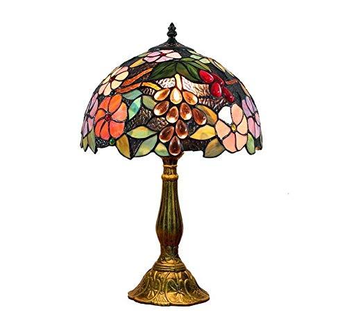 Art Glass Vintage Tisch Lampe (WJMLS Tiffany Lampen Glasmalerei und Crystal Bead Tischlampe for Couchtisch Wohnzimmer antiken Schreibtisch neben Schlafzimmer)