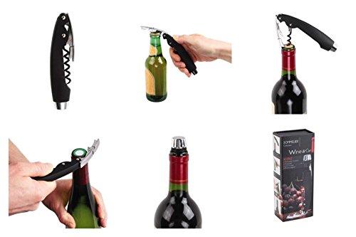 Profi Korkenzieher Kellner-Messer Kapselschneider Kappenstopper Wein Geschenk Wein-Flaschenöffner Sommelier (Hebel-Korkenzieher, Ergonomischer Griff, Wein-Zubehör)