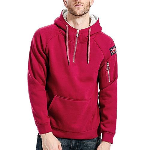 Sale Canada Goose (AIni Herren Pure Color Zipper Pullover Lange Ärmelumfang Kapuzenpullover Tops Bluse Warm Coat Jacke Mäntel Neuheit 2019(M,Rot))
