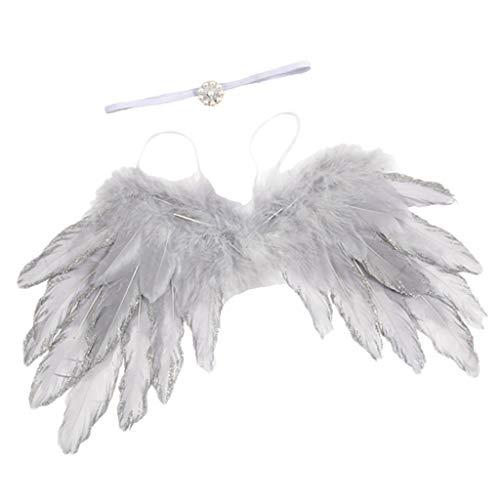 m Set inkl. Engel Federflügel + Haarband mit Perlen Deko - Silber ()