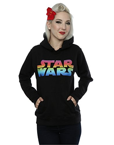 Star Wars Donna Rainbow Logo Felpa con cappuccio Large Nero
