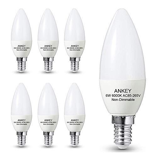 Bombilla de vela E14 LED 6 W (sustituye a 60 W) - Luz blanca fría 6000 K, 600 lm, CRI>80+, no regulable, 6 unidades