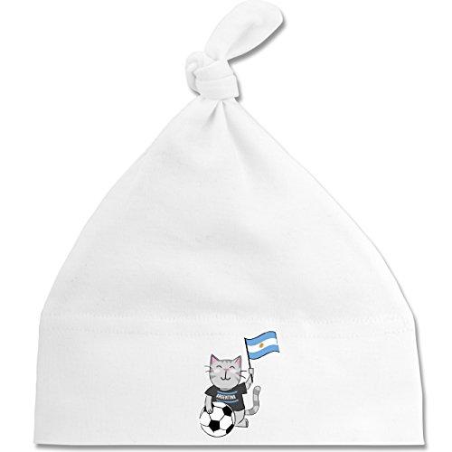 Shirtracer Fußball-Weltmeisterschaft 2018 - Baby - Fußball Katze Argentinien - Unisize - Weiß - BZ15 - Baby Mütze mit einfachem Knoten als Geschenkidee (Katze Gewaschen Cap)