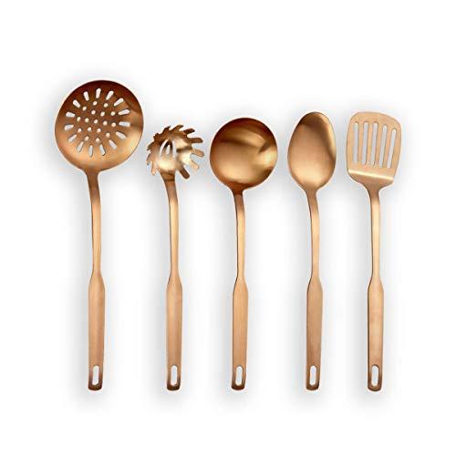 Berglander - Utensilio de cocina de acero inoxidable, 5 piezas, con titanio, chapado en oro rosa, sintonizador...