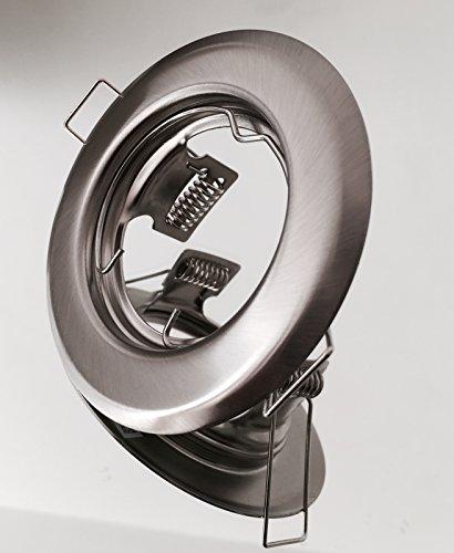 ag-electronics Einbaustrahler, LED und Halogen GU10 MR16 Einbauspot Spot + MR16 Fassung (Chrom matt - starr) Edelstahl-gebürstet -