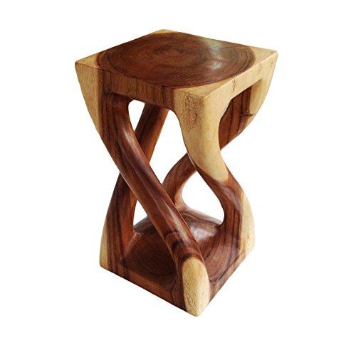Geschnitzte Hocker (Asiatische Oriental Vine Twist 50,8cm Holz Hocker ~ Platz Top Beistelltisch ~ Ende Tisch von COLLUMINO Honey Wax Brown)