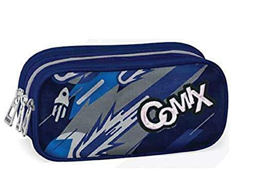 Astuccio comix flash organizzato blu portapenne vuoto 3 cerniere 22x10x7 cm