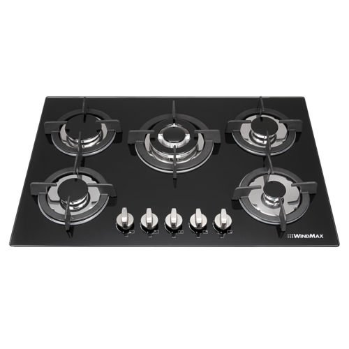 Anmas Home 77cm Fashion Black Tempered Glass Built-in Kitchen 5 Burner Gas Hob Cook Tops