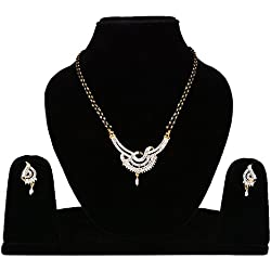 Cardinal American Diamond Mangalsutra Pendant Necklace Set For Women
