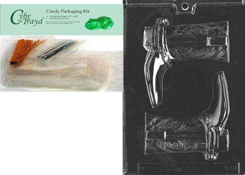 Cybrtrayd mdk50-k081Stiefel für Specialty Box Kinder Chocolate Candy Form mit Verpackung Bundle, inkl. 50Cello Taschen, 25gold und 25silber Twist Krawatten und Schokolade Formen Anweisungen (Schokolade Boot Kids)