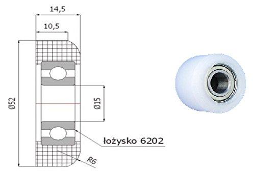 Zabi Nylon Kunststoffrollen für Schiebetore mit Lagerung (Kugellager) d = 52,5 mm