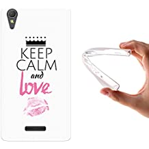 Funda Sony Xperia T3, WoowCase [ Sony Xperia T3 ] Funda Silicona Gel Flexible Keep Calm and Love, Carcasa Case TPU Silicona