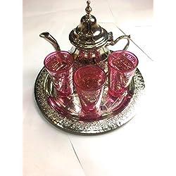 juego de te marroqui artesanal, tetera, bandeja 25 cm de diametro, 3 vasos