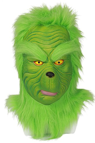 Mesky Grinch Maske Cosplay Mask Deluxe Latexmaske Vollkopf -