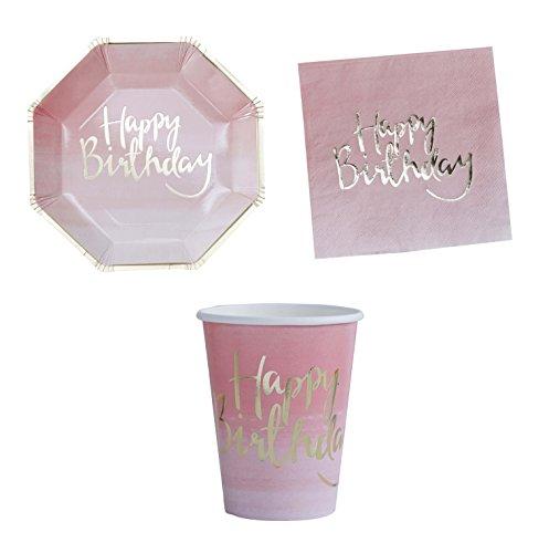 William & Douglas Pink Ombre Happy Birthday Party Supplies Bundle | Papier Teller, Tassen und Servietten Goldene Rose Teller