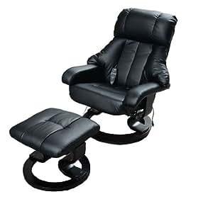 Homcom Fauteuil de massage relaxation chauffage electrique repose-pied noir 71