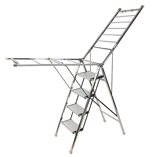 JXJJD Leiter-Trockengestelle Zweifach verwendbare Edelstahl-Trockengestelle Luftklappbare Trockengestelle Trocknungsgestelle für den Innen- und Außenbereich (Farbe : B)