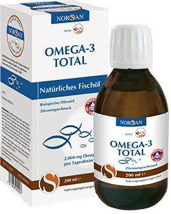 Norsan Omega-3 Total Fischöl mit Zitrone flüssig 200ml (Paleo Olivenöl)