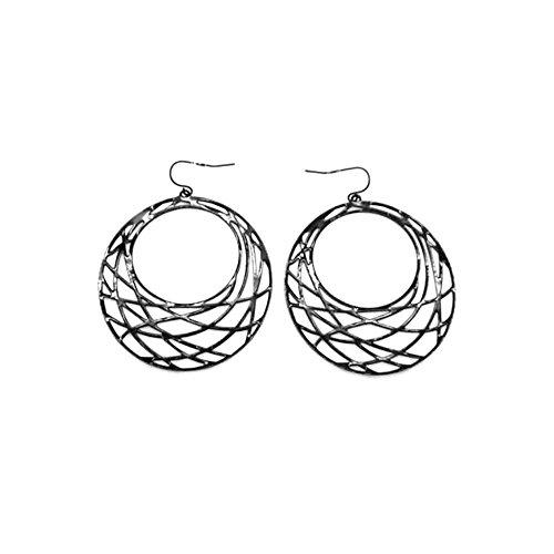Boucles d oreilles Crochets Cercles filigranes 55mm Métal Noir