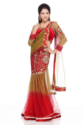 Chhabra555 Red Net One Minute Saree
