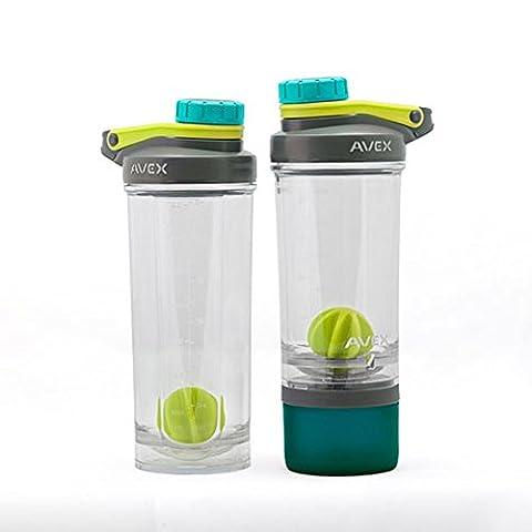 Avex 2Stück auslaufsicher Shake und Go Fit Mixer Kunststoff Flaschen mit taste-guard Schutz, blau/grün/pink, grün