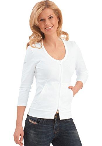 Trigema Damen Jacke Baumwolle/Elastan, Gilet Femme Blanc (weiß 001)