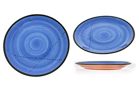 Set 6PCS Keramik Essgeschirr, handgefertigt rund Main Küche–Blau 26,9cm (27cm) (Essgeschirr Platter)