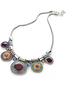 rinhoo Anhänger Halskette Ethnic Bohemian Lady Strand Urlaub Multicolor Fancy Geschenk Party