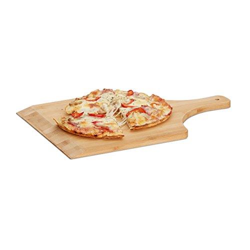Relaxdays Pala para Pizza Cuadrada, Bambú, Beige, 45 x 30 cm