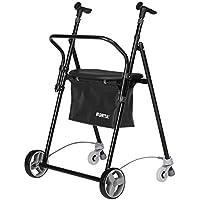 Andador para ancianos | De hierro plegable | Con frenos traseros| Con cesta asiento y respaldo | Color negro