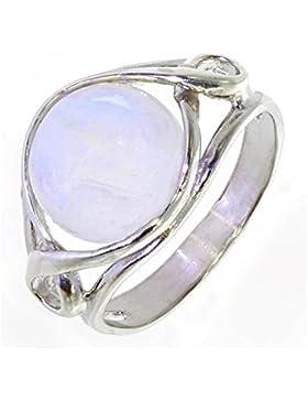 Ring mit Mondstein 34-13 - Schmuck silbern-rhodiniert aus Mondstein - Alle Größen und verschiedene Steine - ARTIPOL