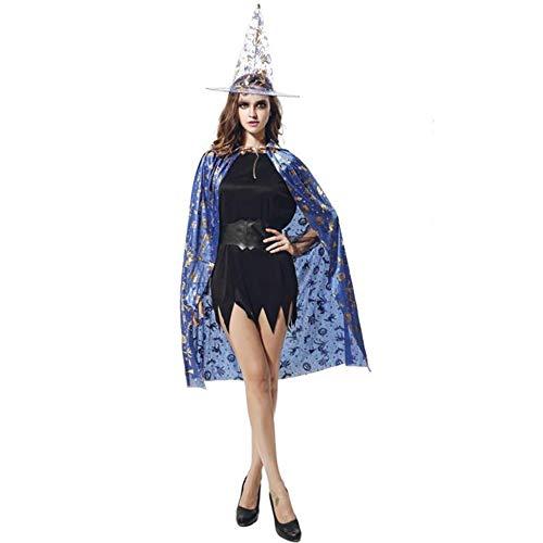 (BHXUD Halloween-Kostüm Erwachsene Kürbis-Mantel Show Ball Kürbis Cape Hat,Blue)