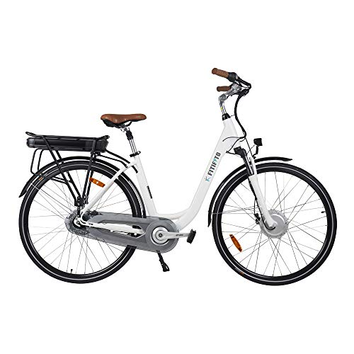 Fitifito CB28 Zoll Elektrofahrrad Citybike E Bike Pedelec 48V 250W Bafang Motor, 13Ah 624Wh Samsung Akku USB, 8 Gang Shimano Nabenschaltung Weiss