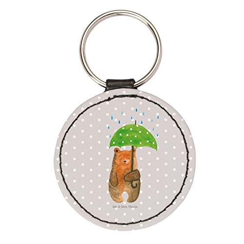 Mr. & Mrs. Panda Anhänger, Schlüsselband, Rund Schlüsselanhänger Bär mit Regenschirm - Farbe Grau Pastell