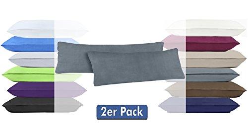 Doppelpack Serie Jersey Kissenbezüge mit Reißverschluss aus 100% Baumwolle in 12 modernen Farben und 4 Größen (40 x 145 cm (Stillkissenbezug), Anthrazit)