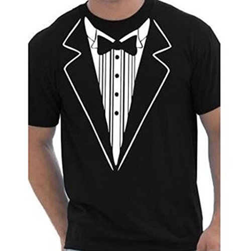 Fuibo Einfarbige T-Shirts Mens Print Baumwolle Kurzarm Tuxedo Fancy Lustiges T-Shirt Plus Bluse Top für Workout, Training - Slim Fit (Schwarz, M) -