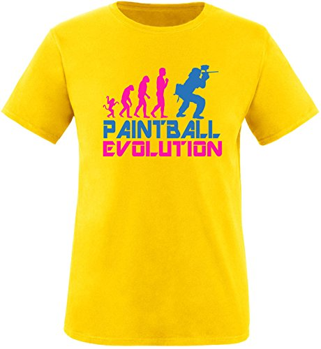 EZYshirt® Paintball Evolution Herren Rundhals T-Shirt Gelb/Pink/Blau