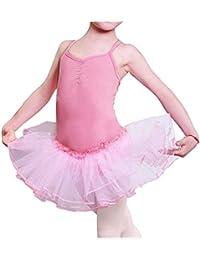 Imixcity Filles Justaucorps Robe de Danse Tutu Ballet Sans Manches Princesse Fancy Fairy Gymnastique Performance 3-12 Ans