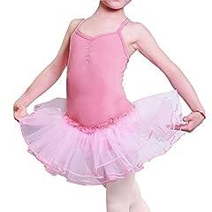 Idea Regalo - Ragazza Leotard Vestito Tutu Balletto Dancewear Body Ginnastica Abbigliamento 3-12 anni (Rosa, 110 (3-4 anni))