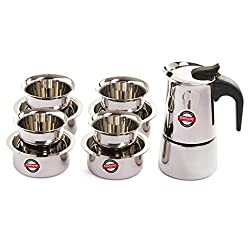 Embassy Coffee Percolator (4 Cups) with Tumbler & Dabara (Set of 4, 150 ml/glass), Stainless Steel