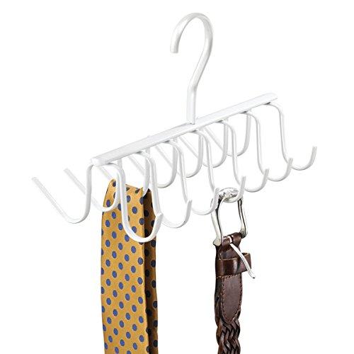 Mdesign pratico e funzionale portacravatte da armadio e portacinture ? appendino con 14 ganci ? per riporre cravatte, cinture, sciarpe, collane ? bianco