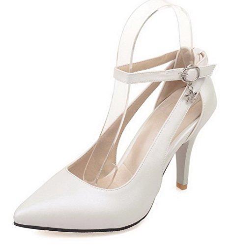 Senhoras Apontado Fivela Branco Pu Couro Sapatos De Bombas Alto Agoolar Puro Salto Dedo 5frIfq