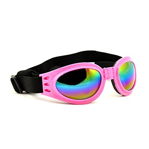 4yourpet 3766 Sonnenbrille aus Kunststoff für Hunde, Gläser regenbogen verspiegelt (Rosa)