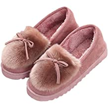 Minetom Mujer Zapatillas Zapatos De Mocasín Invierno Calienta Comodidad Pantuflas Slipper De Algodon Slip On Afelpado